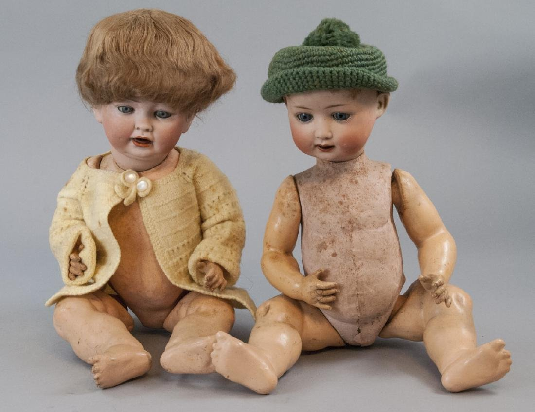 Two Antique German Bisque Head Baby Dolls