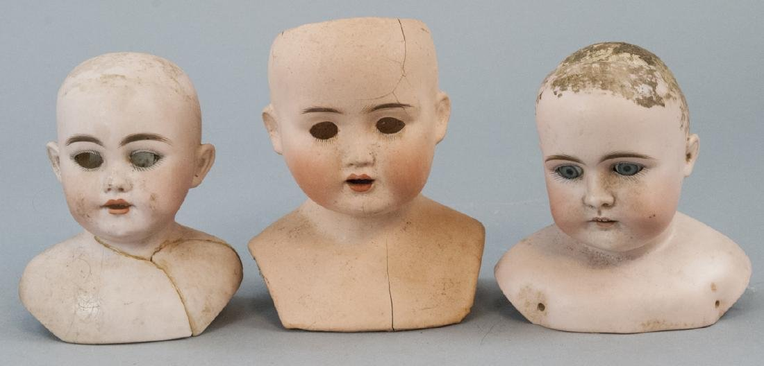 Three Antique German Shoulder w Head Dolls