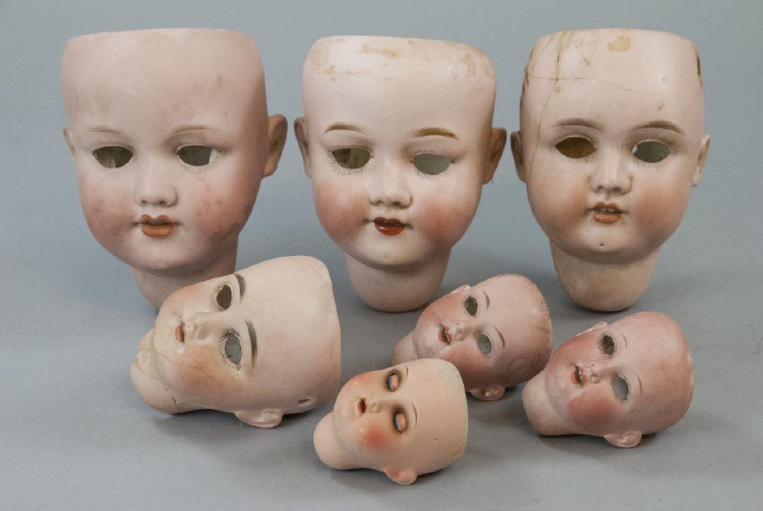 Seven Antique Bisque Head German Dolls