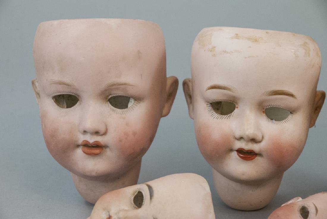 Seven Antique Bisque Head German Dolls - 5