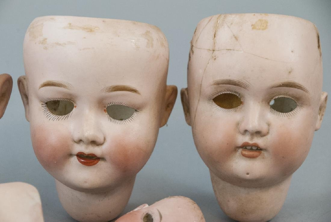 Seven Antique Bisque Head German Dolls - 6