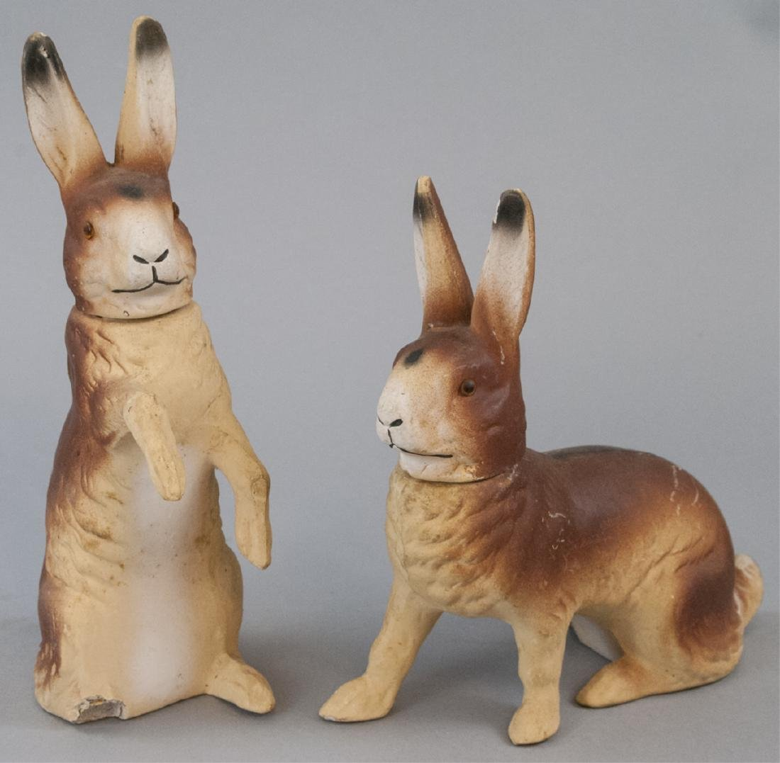 Two Vintage Easter Bunny Candy Containers