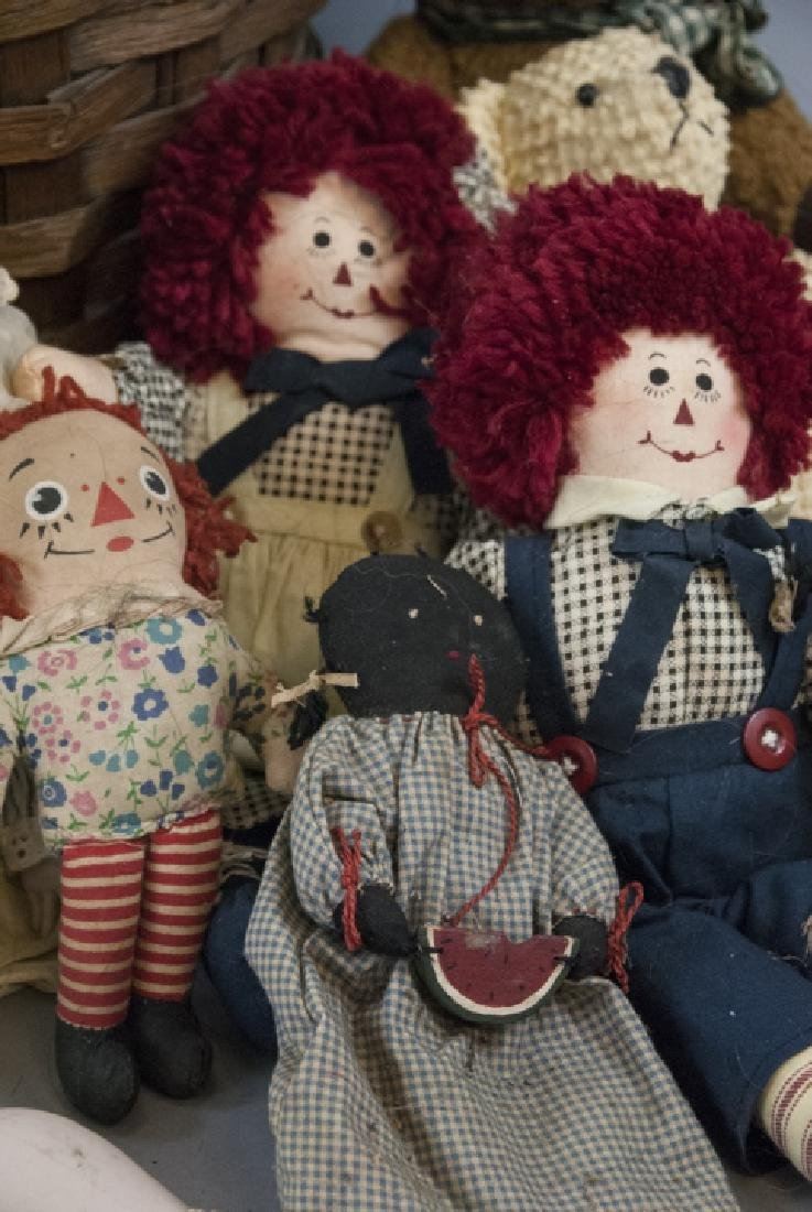 Group of Vintage Rag Dolls & Bears w Basket - 2
