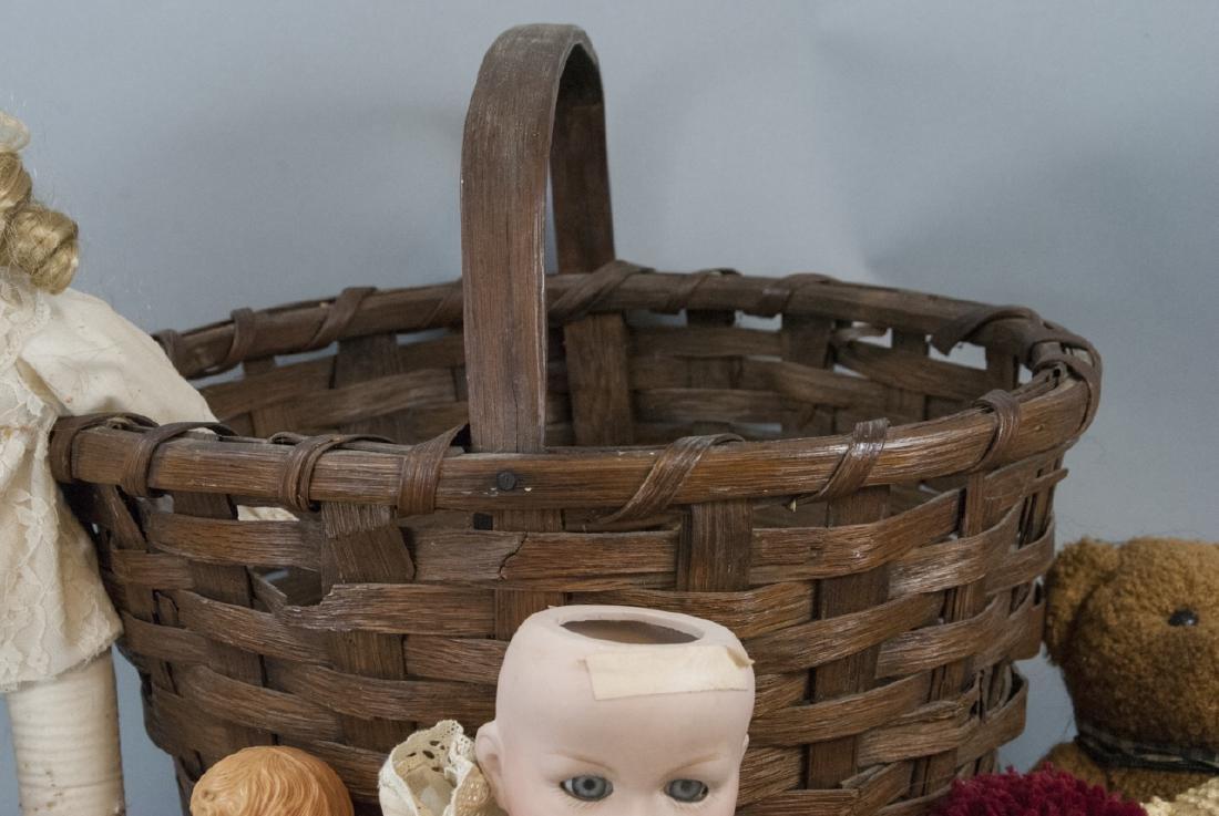 Group of Vintage Rag Dolls & Bears w Basket - 5