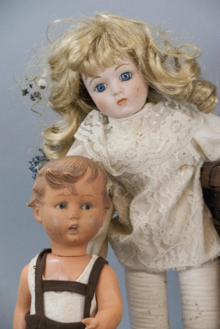 Group of Vintage Rag Dolls & Bears w Basket - 7
