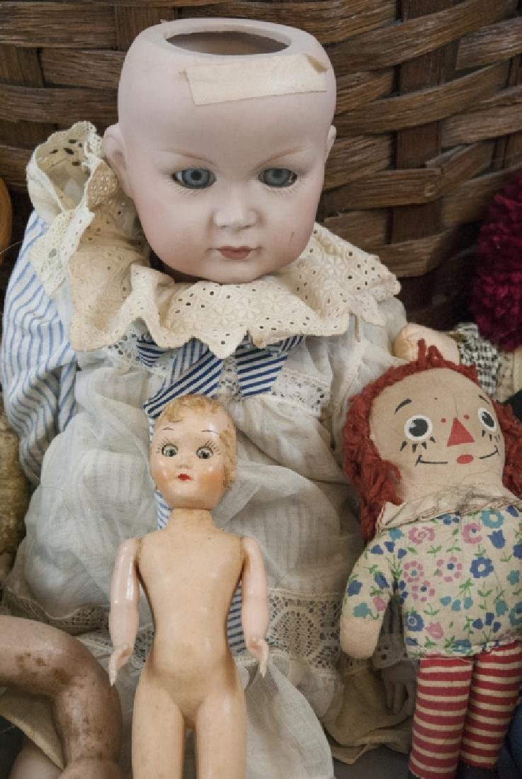 Group of Vintage Rag Dolls & Bears w Basket - 9