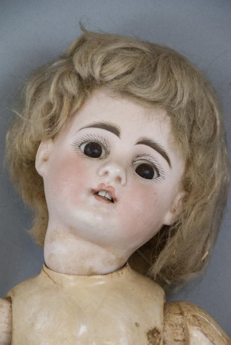 Antique German Bisque Head Doll on Early Body - 5