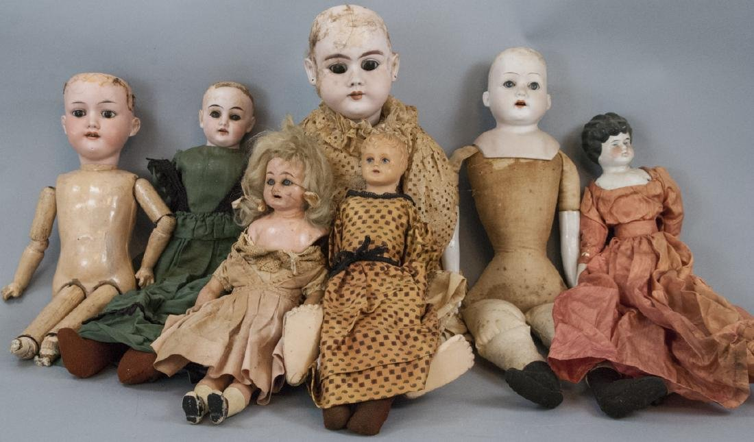 Group of Antique Bisque Head Dolls & Parts