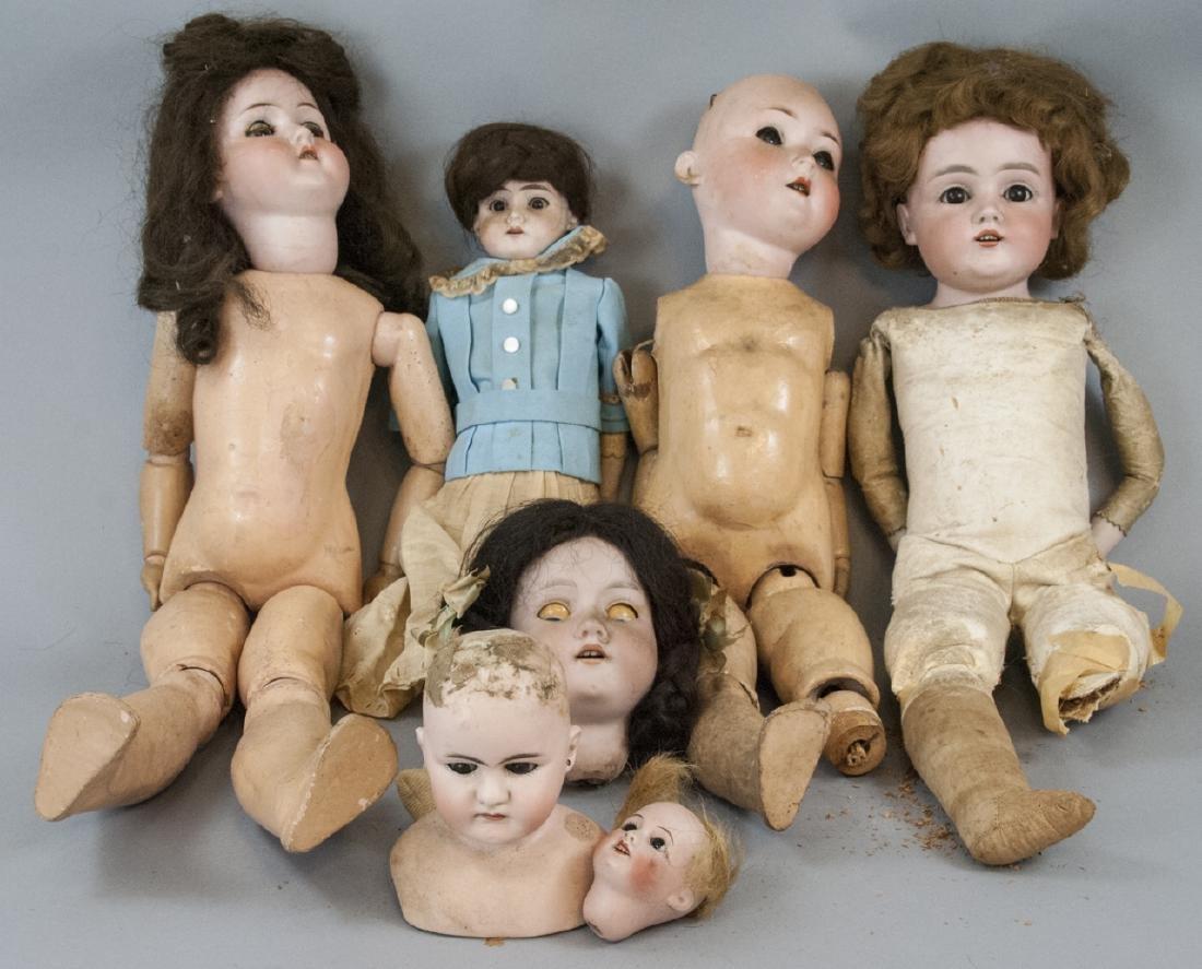 Four Antique German Bisque Head Dolls & Heads