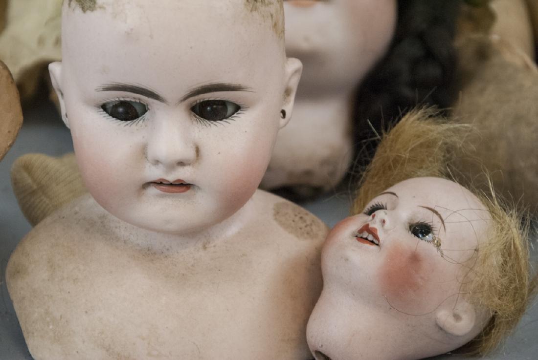 Four Antique German Bisque Head Dolls & Heads - 8