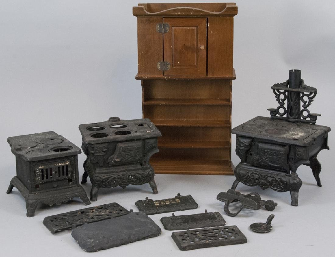 Three Cast Iron Doll / Miniature Stoves & Hutch