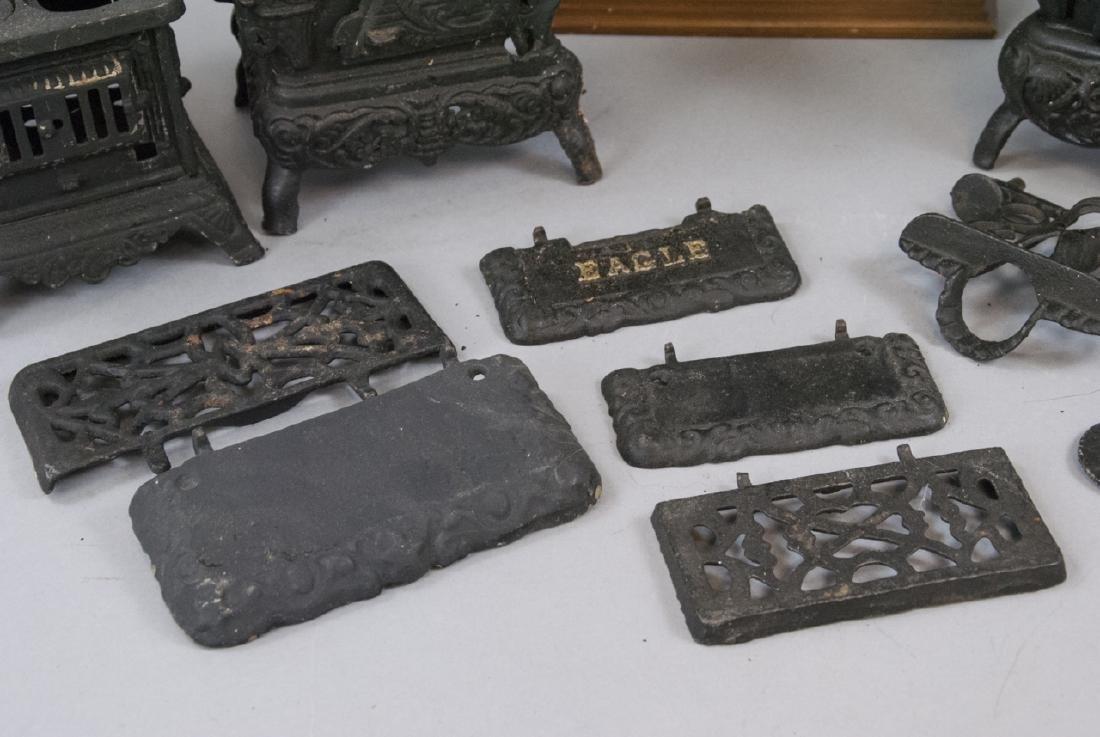 Three Cast Iron Doll / Miniature Stoves & Hutch - 3