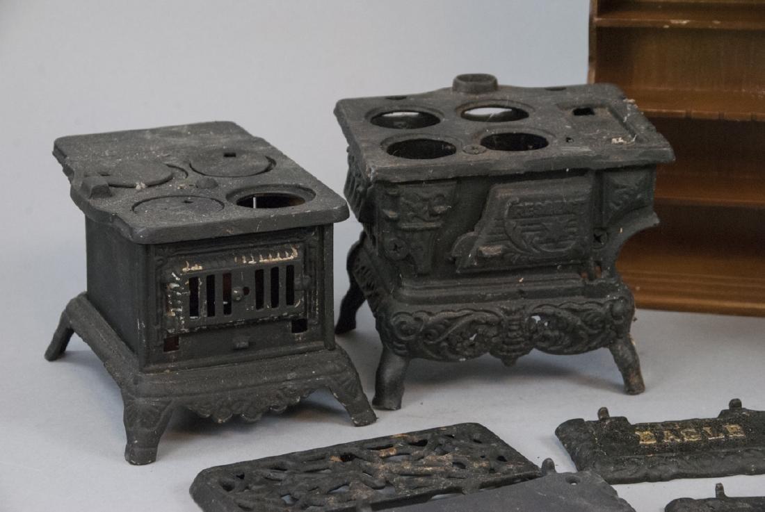 Three Cast Iron Doll / Miniature Stoves & Hutch - 7