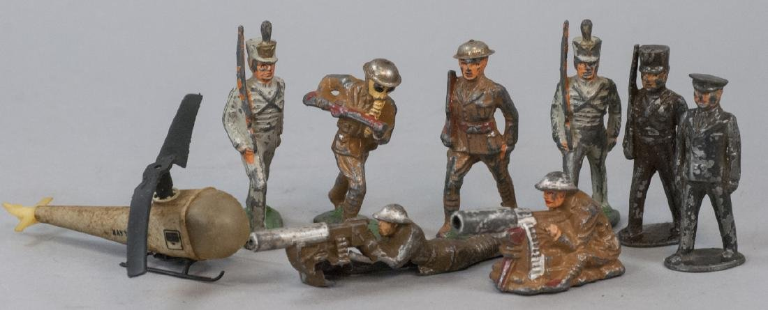 Vintage Painted Metal Soldiers & Helicopter Toy