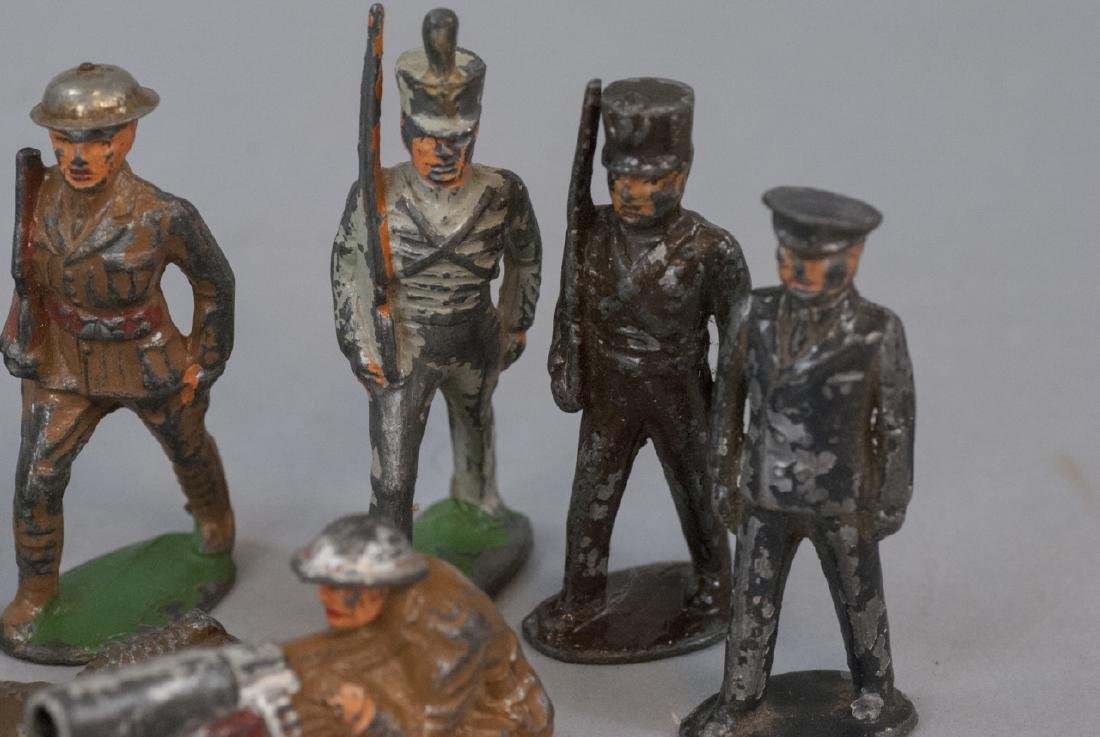 Vintage Painted Metal Soldiers & Helicopter Toy - 2