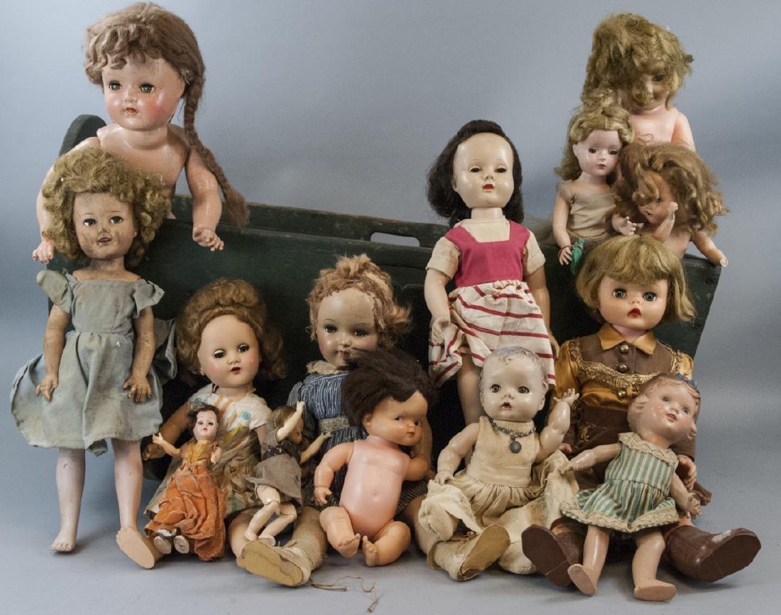 Antique Cradle w Vintage / 20th C Doll Collection