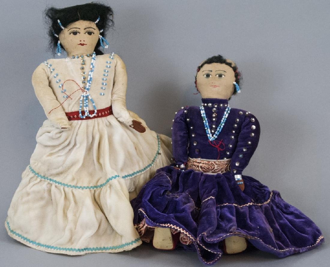 Two Vintage Handmade Native American Rag Dolls
