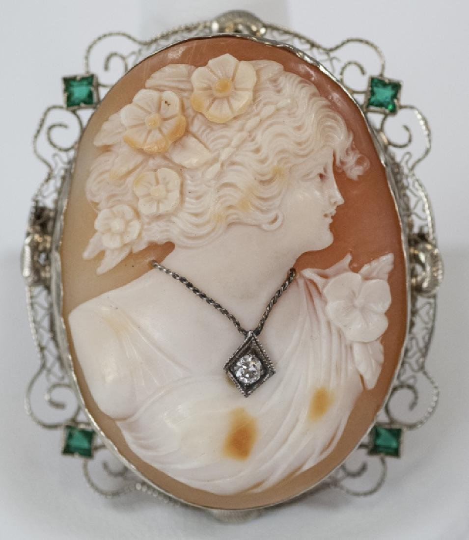 Estate 14kt White Gold Shell Cameo w Diamond