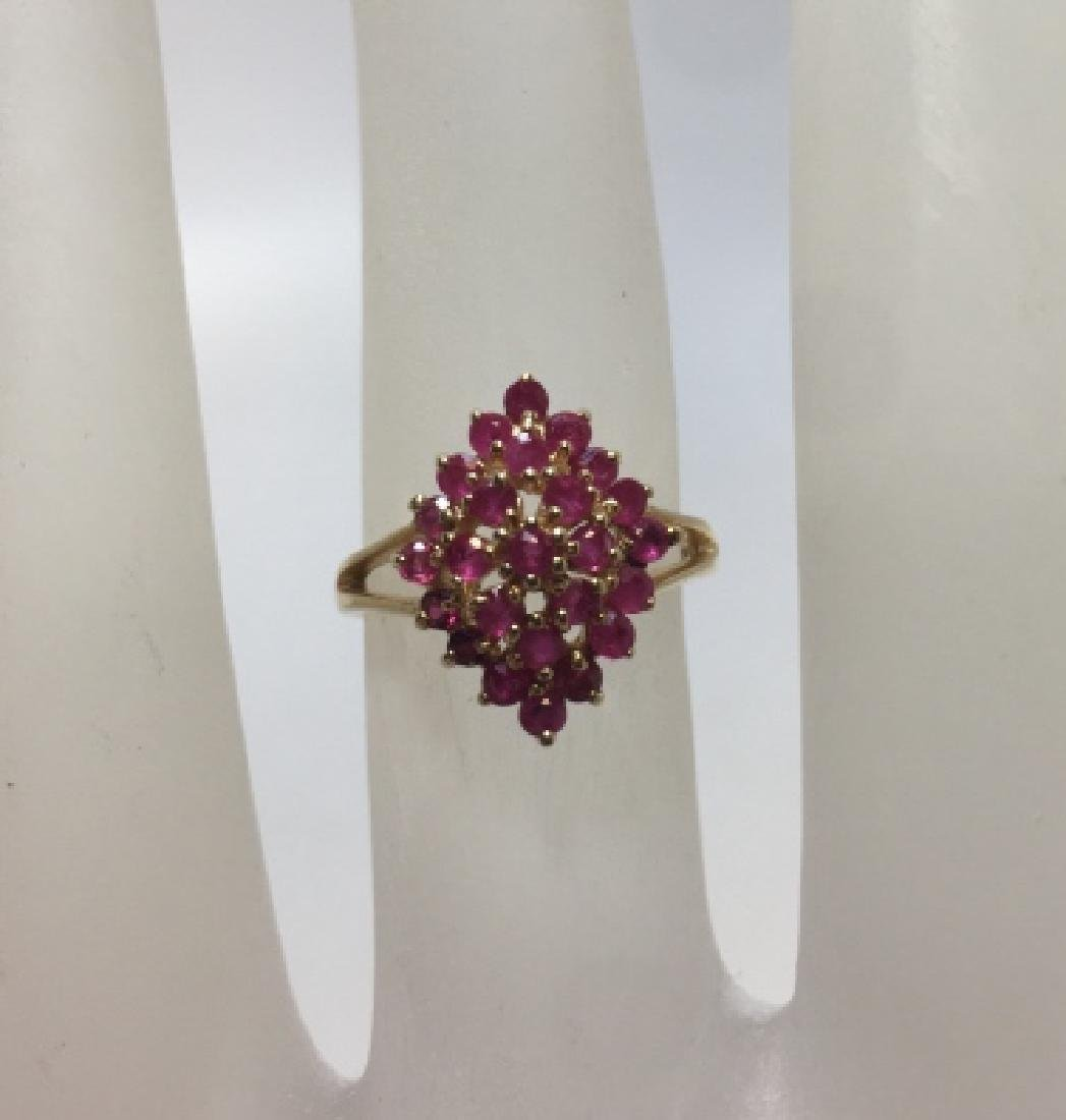 Vintage 14kt Yellow Gold & Ruby Navette Form Ring