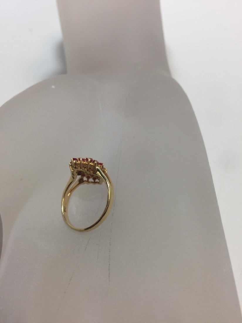 Vintage 14kt Yellow Gold & Ruby Navette Form Ring - 4
