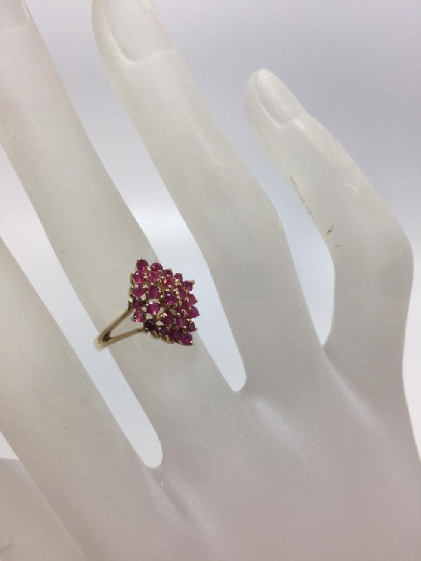 Vintage 14kt Yellow Gold & Ruby Navette Form Ring - 5