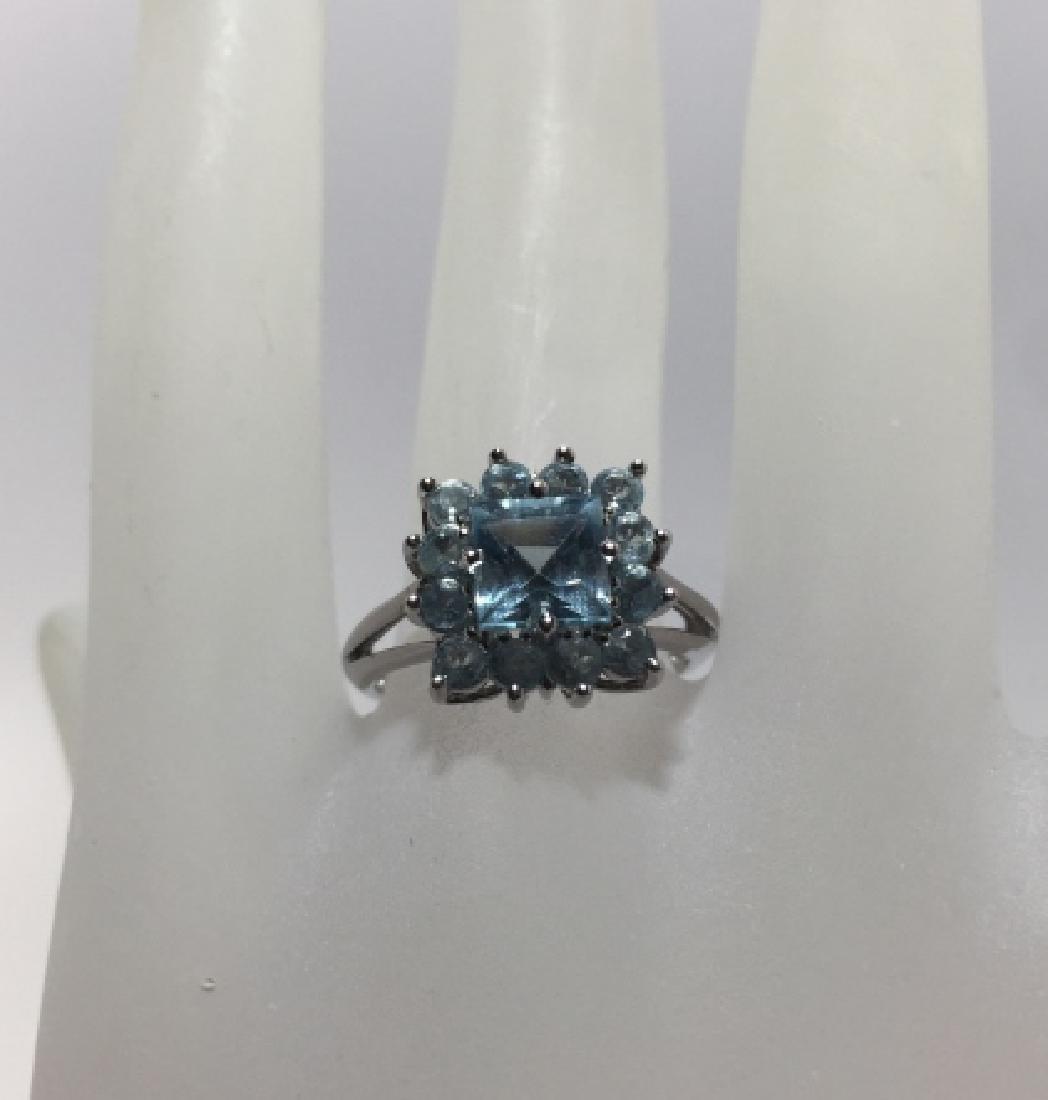 Estate 14kt White Gold & Blue Topaz Ring