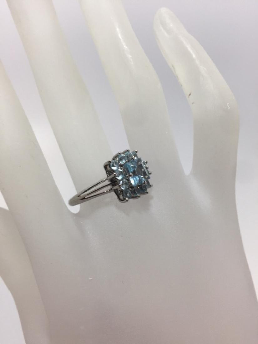 Estate 14kt White Gold & Blue Topaz Ring - 3