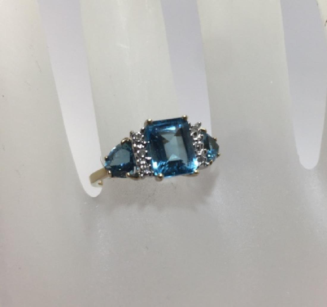 Vintage Yellow Gold Diamond & Blue Topaz Ring