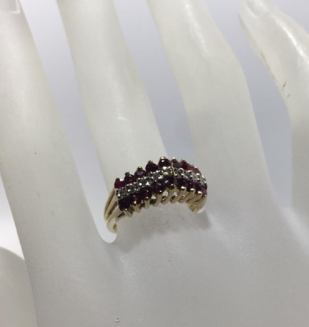 Art Deco Style 14kt Gold Diamond & Ruby Ring