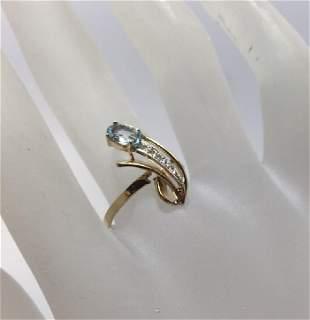 14kt Yellow Gold Aquamarine & Diamond Ring