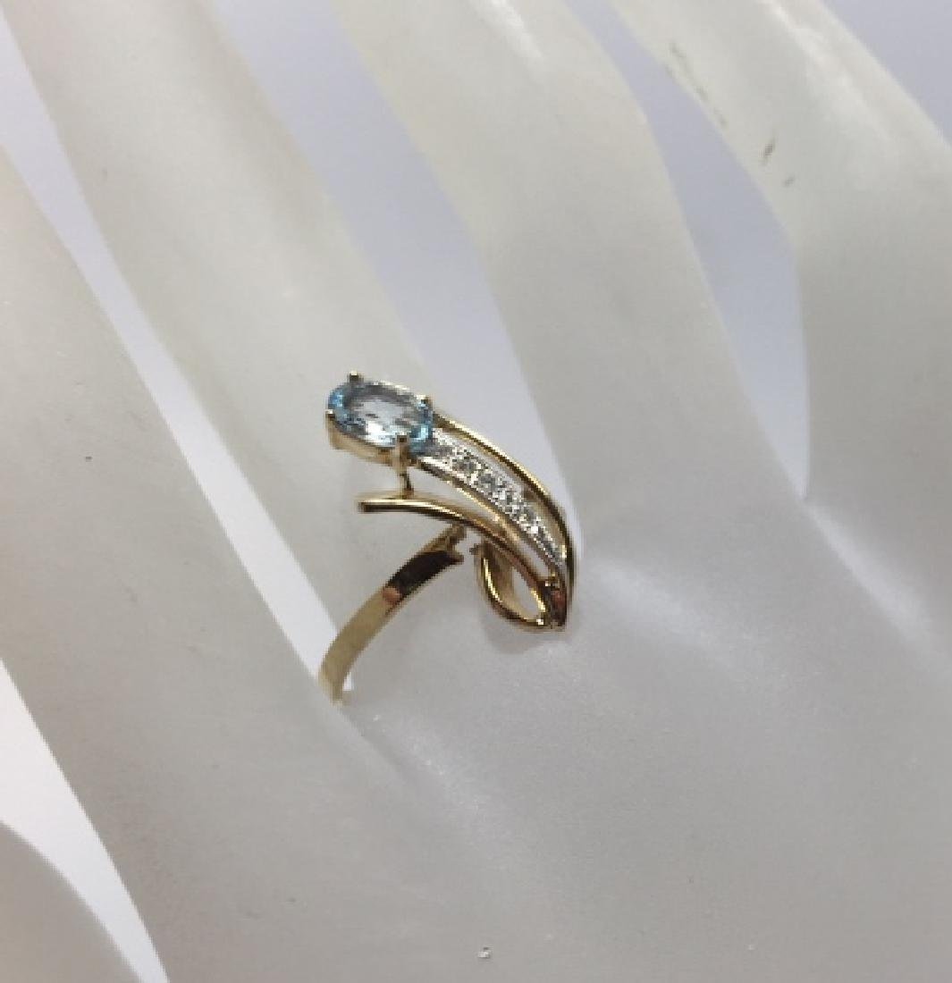 14kt Yellow Gold Aquamarine & Diamond Ring