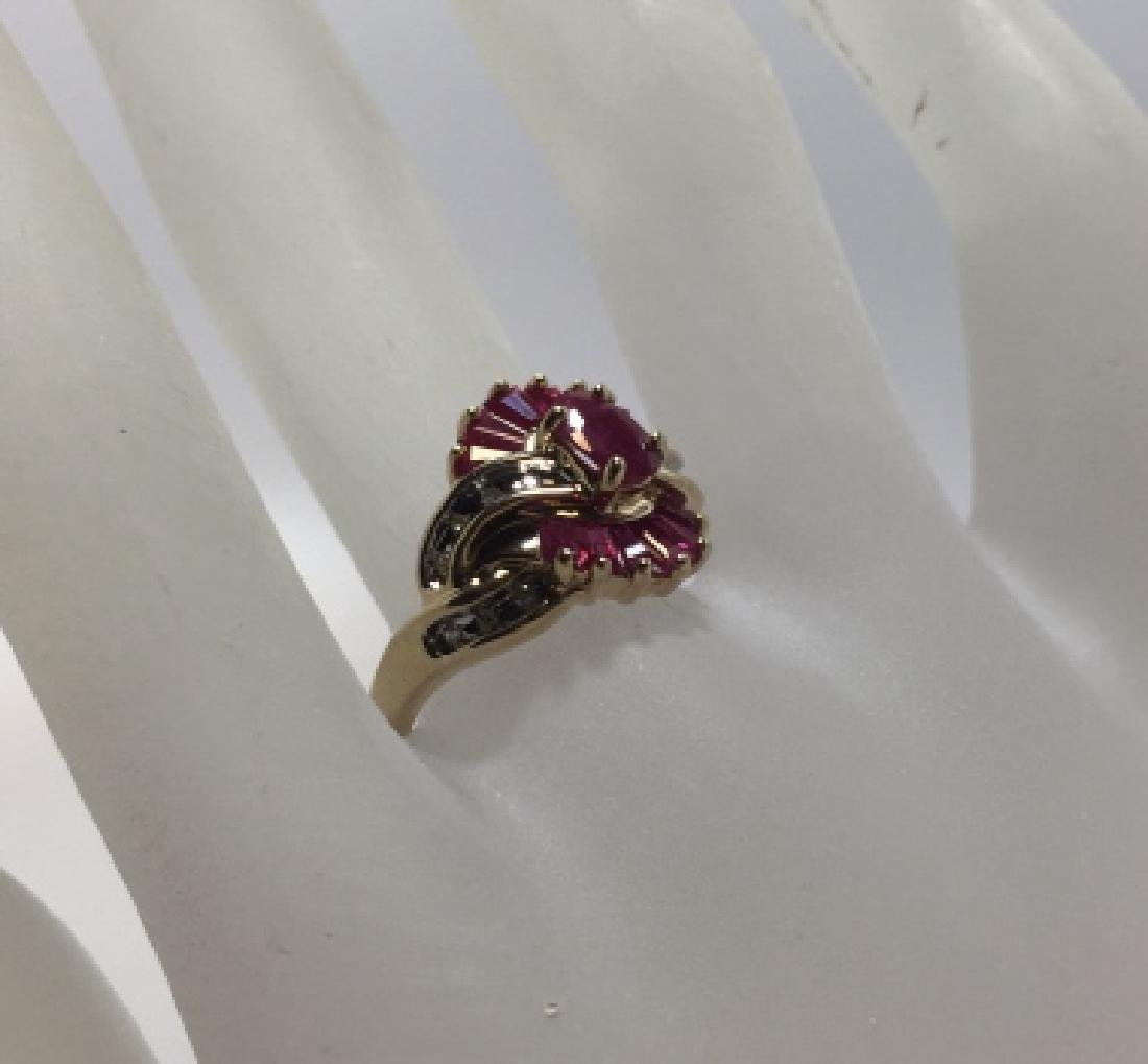 Vintage Yellow Gold Ruby & Diamond Cocktail Ring