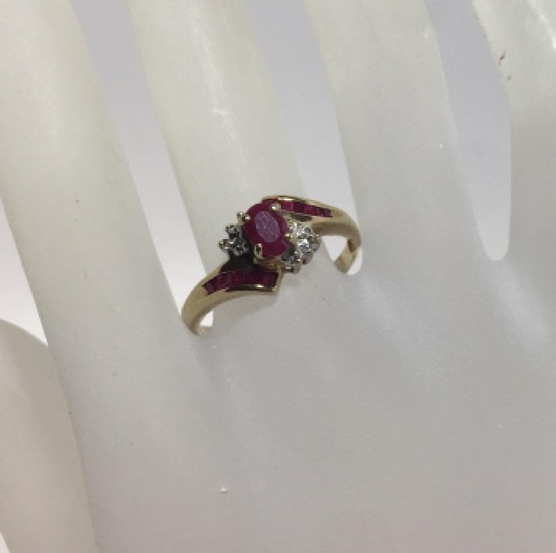 Vintage Yellow Gold Ruby & Diamond Ring
