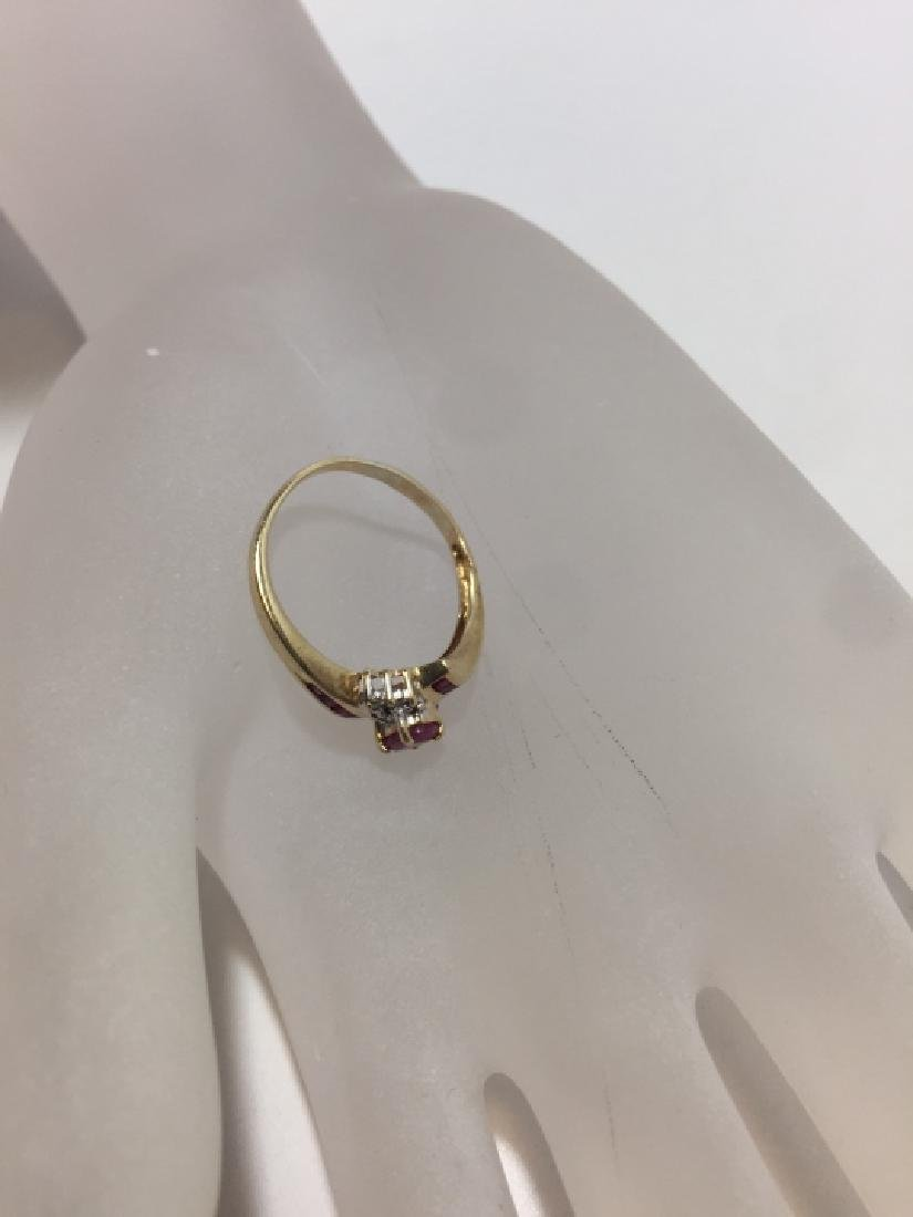 Vintage Yellow Gold Ruby & Diamond Ring - 4