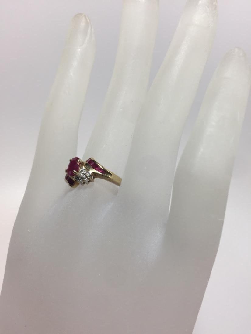 Vintage Yellow Gold Ruby & Diamond Ring - 6