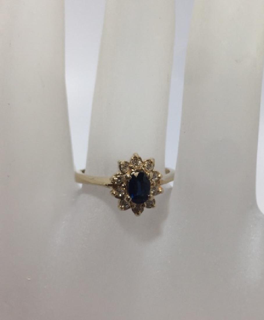 Estate 14kt Gold Sapphire & Diamond Ring