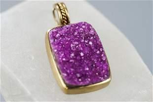 Estate 18kt Gold & Pink Druzy Necklace Pendant