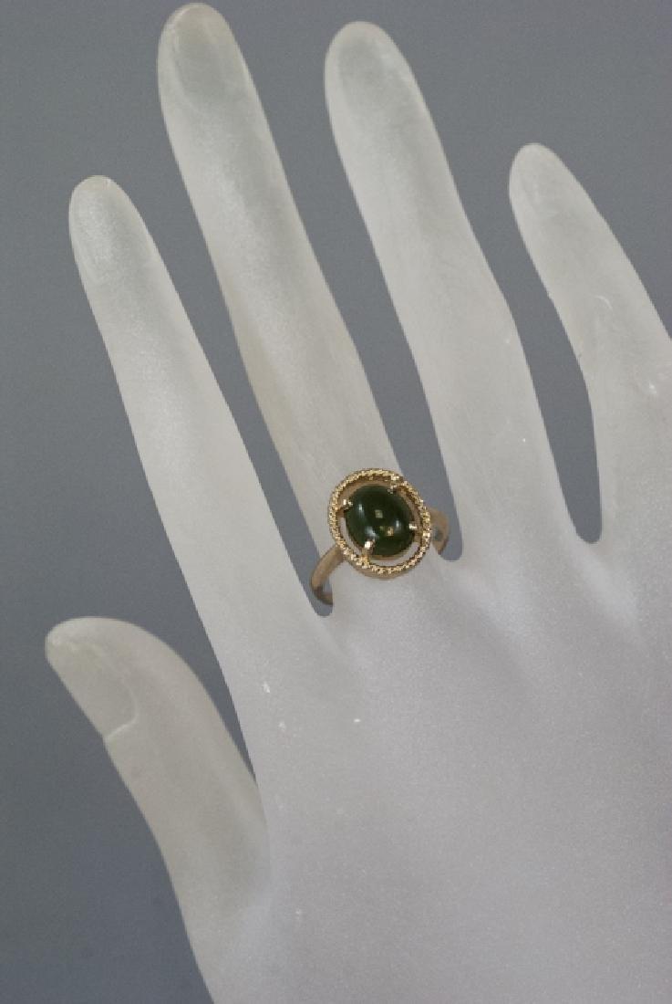 Estate Yellow Gold Cabochon Jade Retro Style Ring - 3