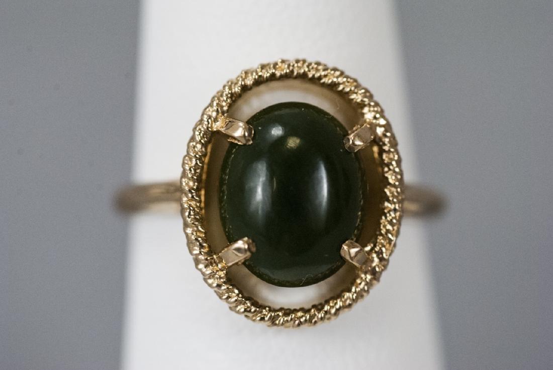Estate Yellow Gold Cabochon Jade Retro Style Ring - 4