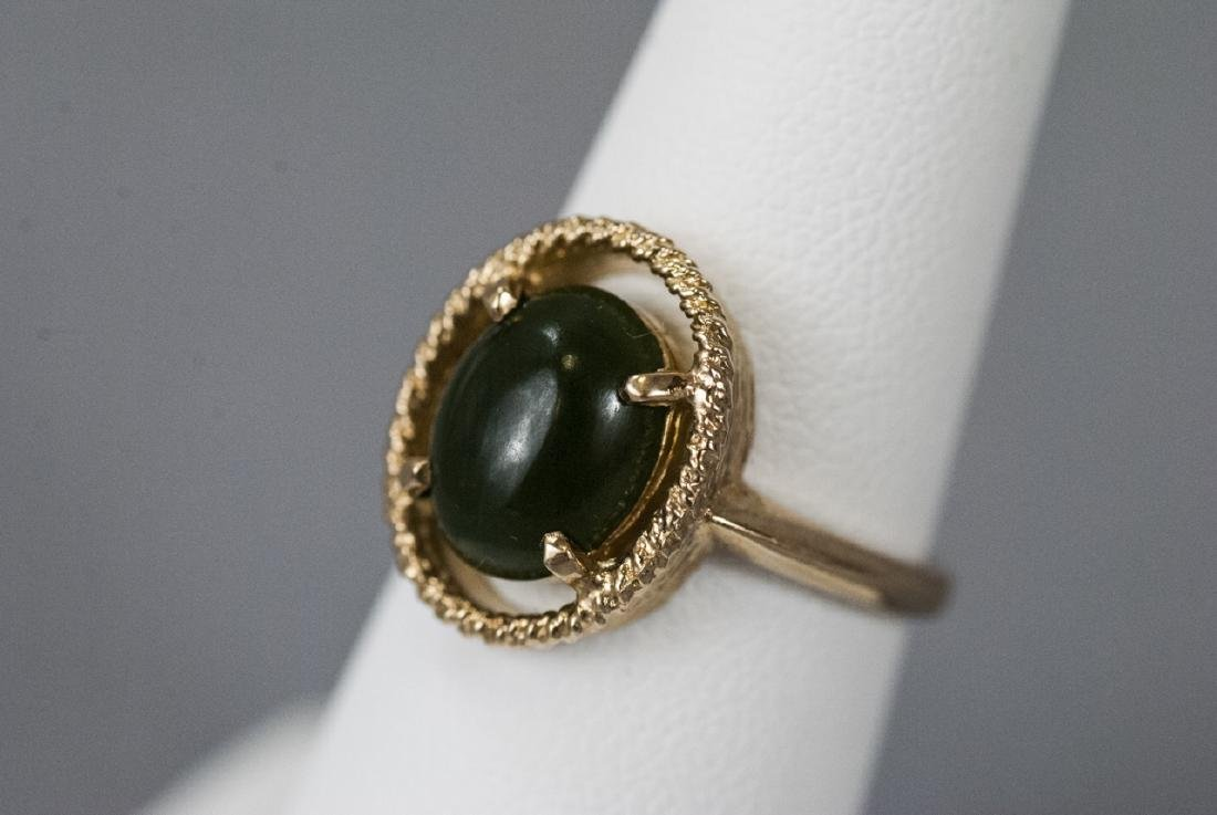 Estate Yellow Gold Cabochon Jade Retro Style Ring - 6