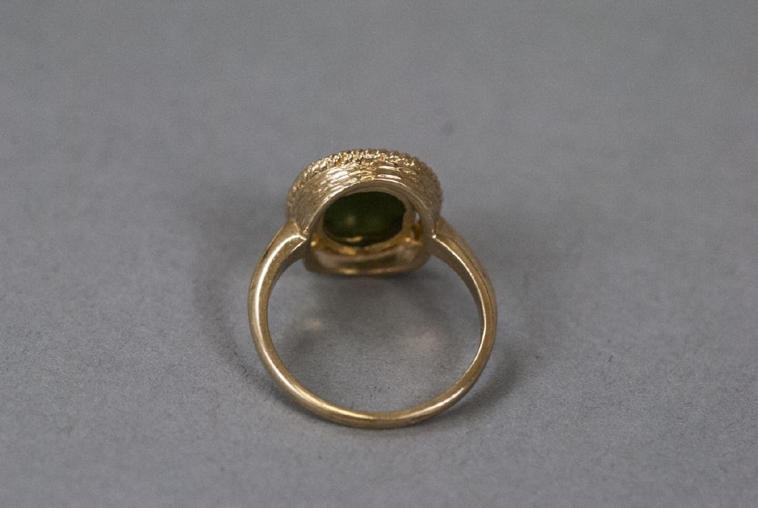 Estate Yellow Gold Cabochon Jade Retro Style Ring - 8