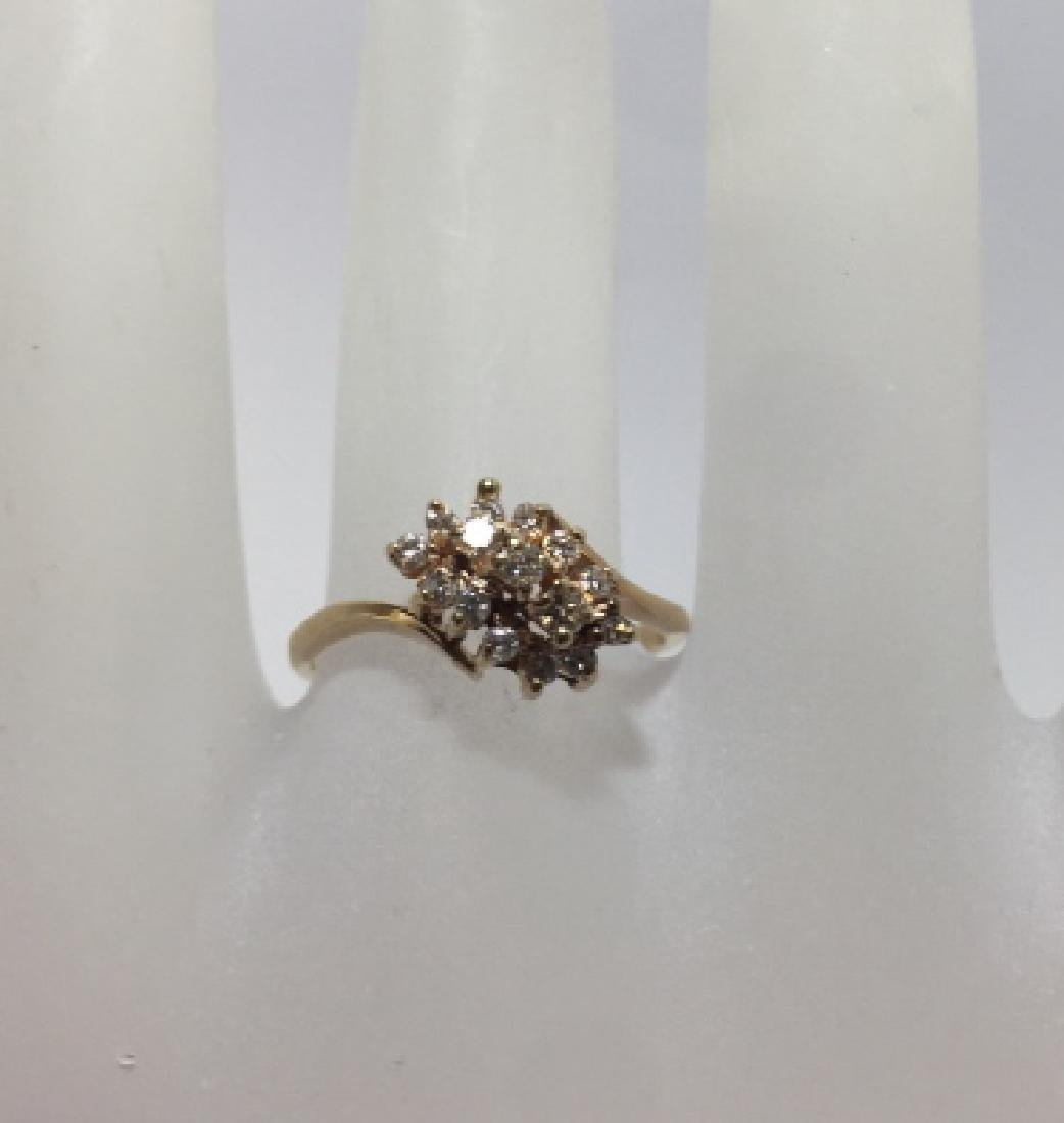 Estate 14kt Yellow Gold & Diamond Cluster Ring
