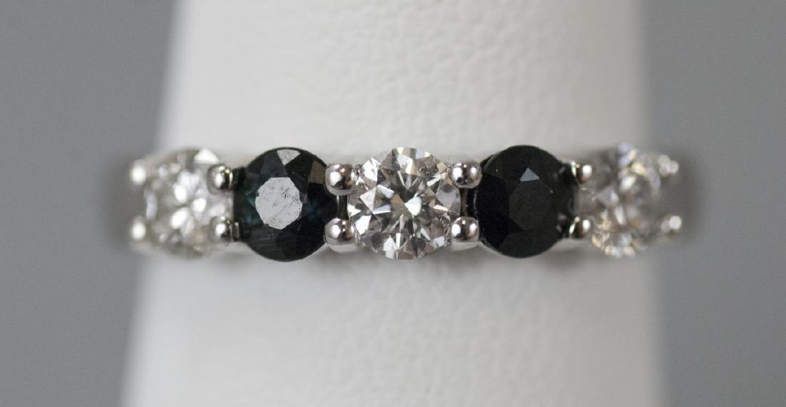 Estate 14kt White Gold Diamond & Sapphire Ring
