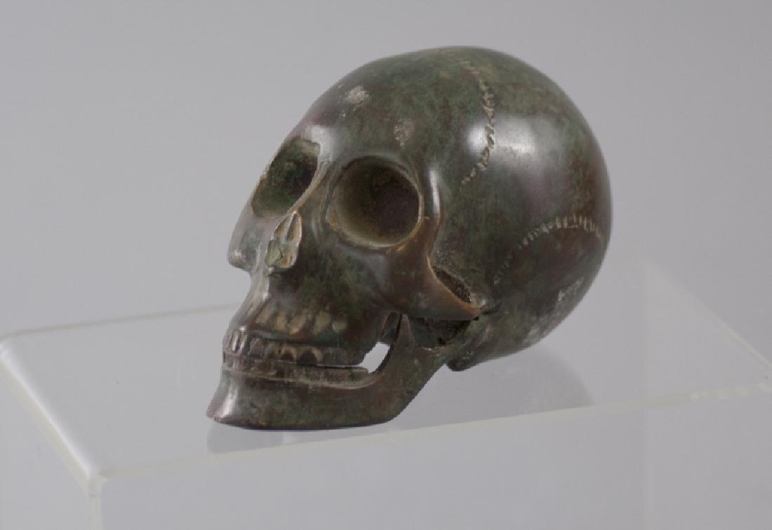 Memento Mori Human Skull Bronze Table Statue