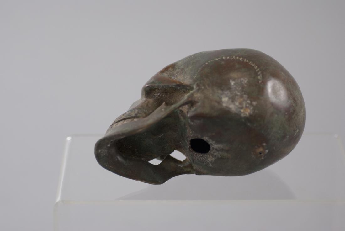 Memento Mori Human Skull Bronze Table Statue - 3