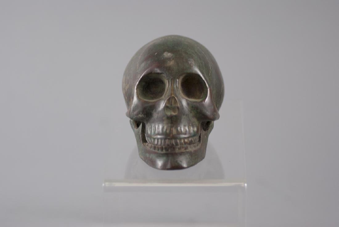 Memento Mori Human Skull Bronze Table Statue - 4