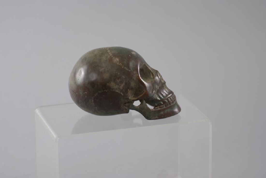 Memento Mori Human Skull Bronze Table Statue - 5