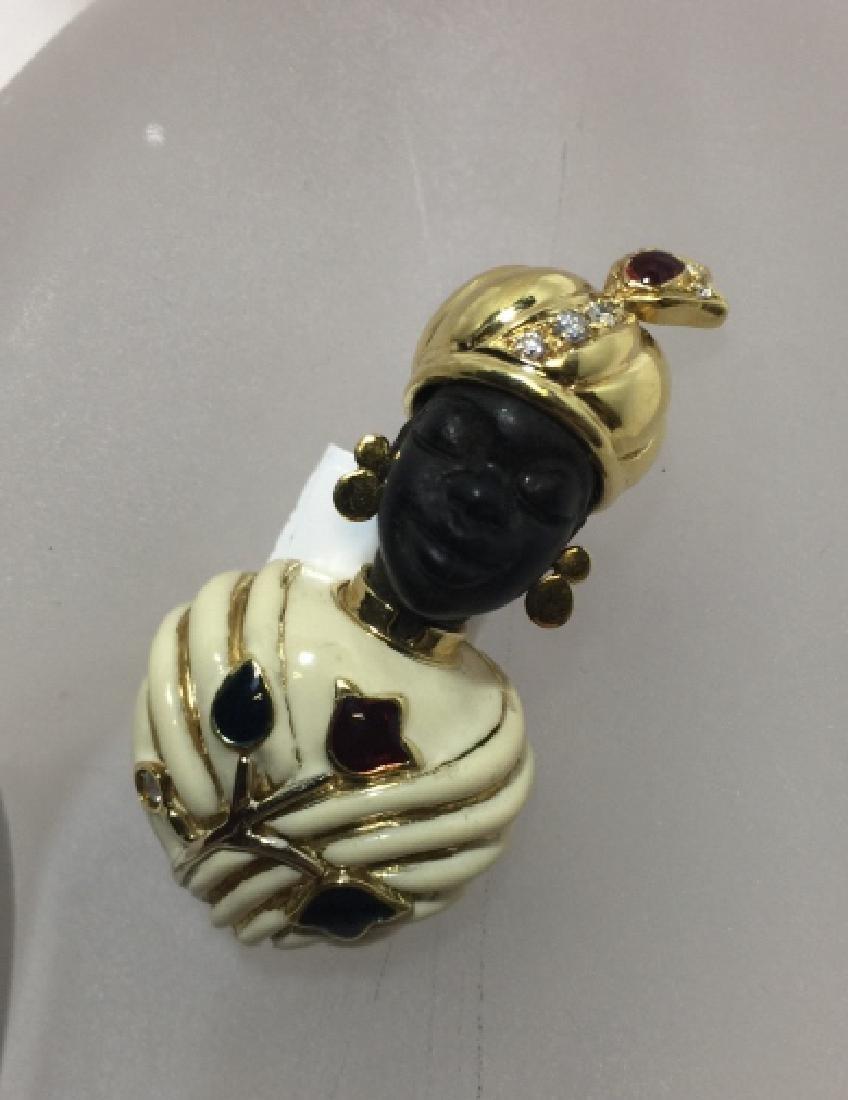 Estate Blackamoor 18kt Gold & Diamond Brooch