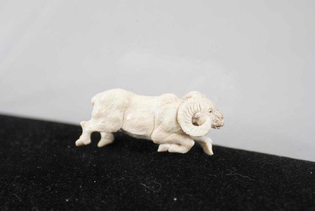 Chinese Zodiac Hand Carved Bone Ram