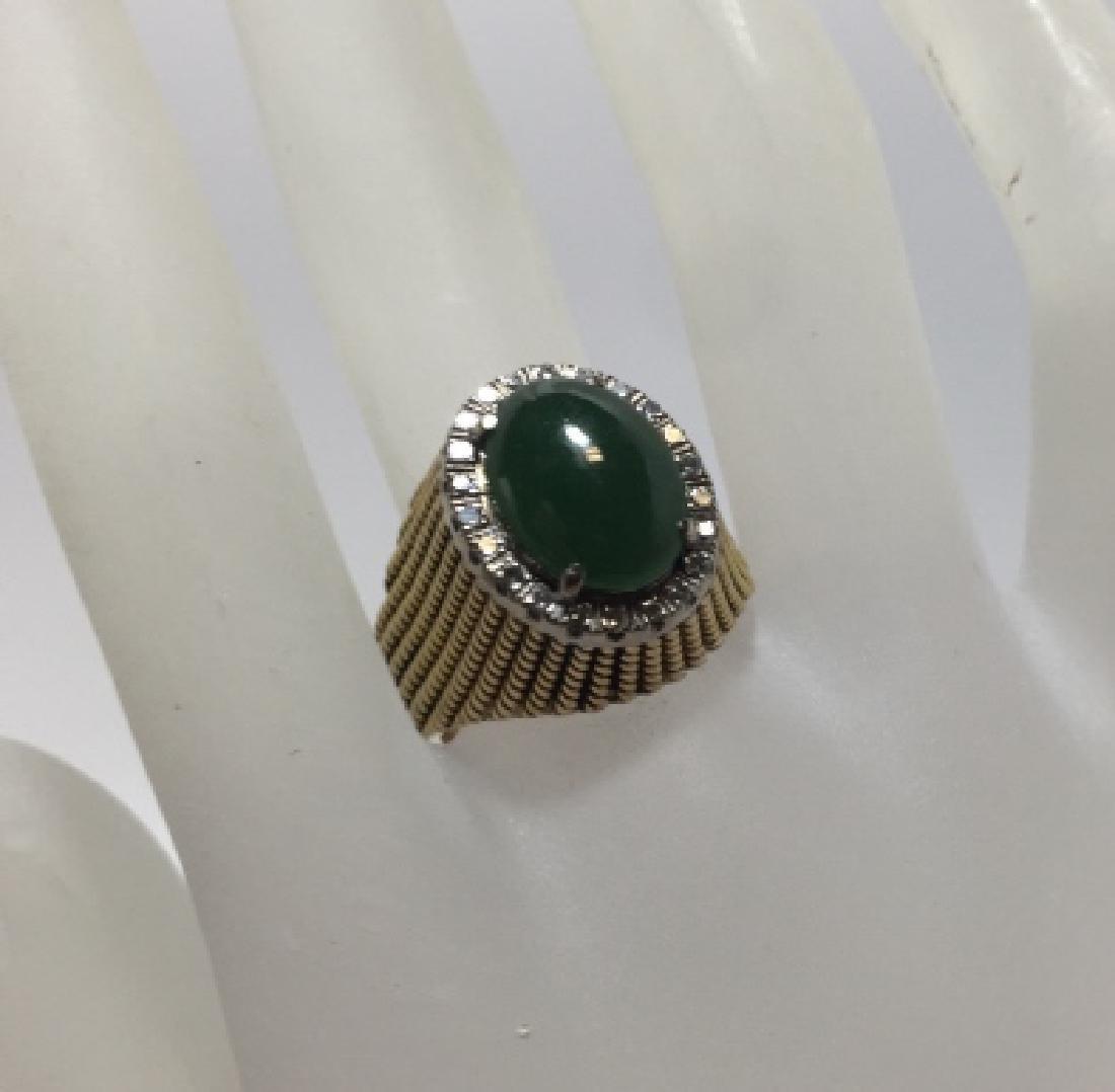 Estate 14kt Yellow Gold Diamond & Jade Ring